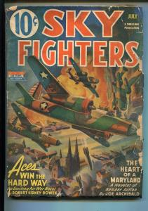 SKY FIGHTERS 7/1943-AIR WAR PULP-THRILLS-WWII-BOMBER COVER-good minus