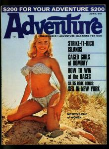 Adventure Pulp Magazine June 1967- Pin up cover- Cheesecake- Caged Girls- FN+