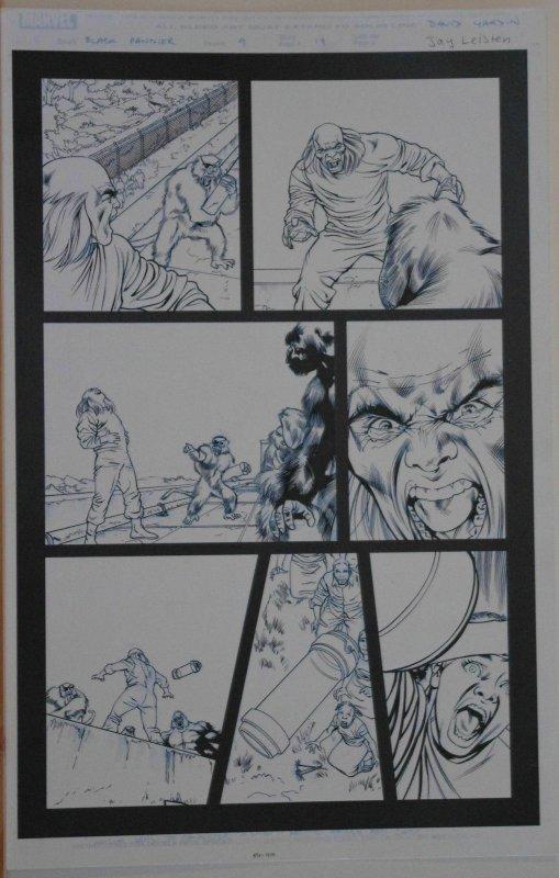DAVID YARDIN / JAY LEISTEN original art, BLACK PANTHER #9 pg 17, 2005, Apes