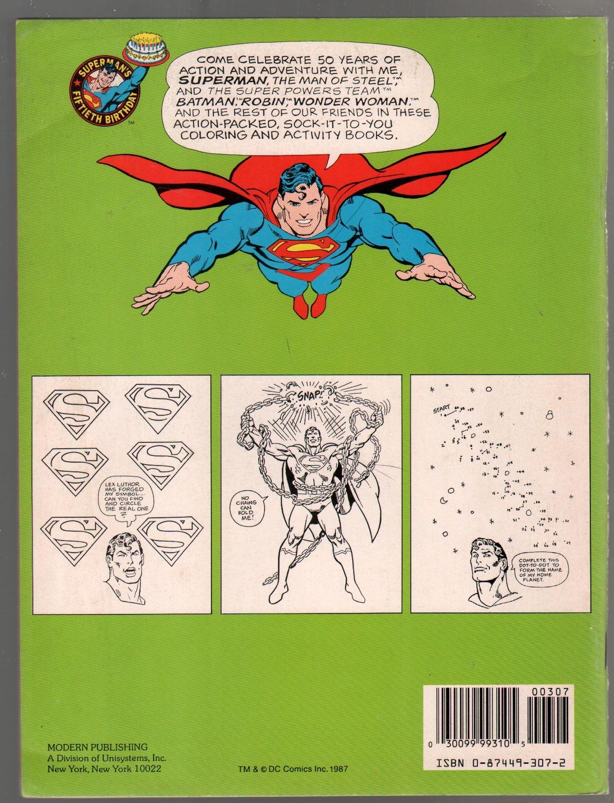 Superman Coloring And Activity Book 1987 50th Anniversary VF HipComic