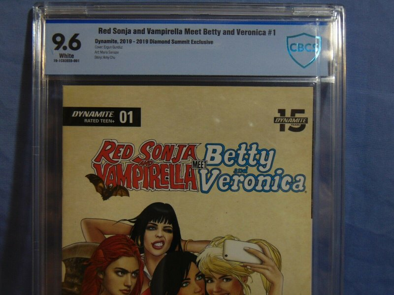 Red Sonja Vampirella Meet Betty & Veronica #1 Diamond Summit Exclusive CBCS 9.6