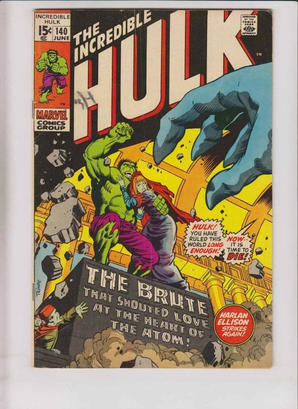 Incredible Hulk #140 FN- harlan ellison - 1ST JARELLA - roy thomas - herb trimpe