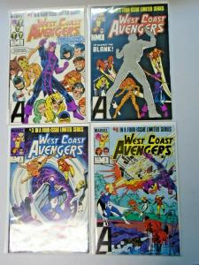 West Coast Avengers set all Direct 4 different books 8.0 VF (1984)