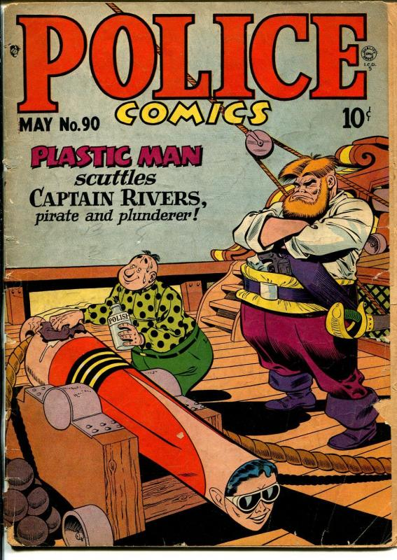 Police #90 1949-Quality-Plastic Man-Spirit-suggestive cover-P
