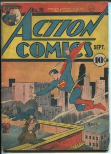 Action #28 1940-DC Comics-Superman-Lois Lane-Daily Planet-John Zatara-VG+