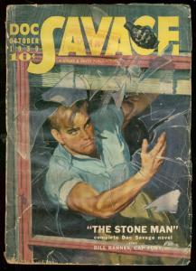 DOC SAVAGE OCT 1939-STONE MAN-WILD GRENADE COVER-PULP G