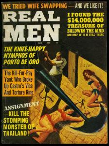 Real Men Pulp Magazine June 1964- Wild Torture Horror cover- Bill Ward VG