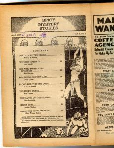 Spicy Mystery Pulp April 1937- coverless reading copy