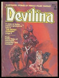 DEVILINA MAGAZINE #1 1975-WILD COVER-VAMPIRE-ESTRADA-GG VG