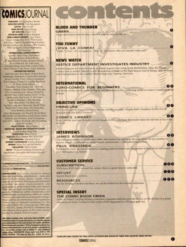 Comics Journal #199 1997- James Robinson- Paul Krassner  comic fanzine