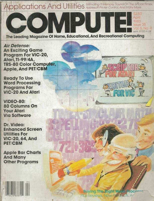 ORIGINAL Vintage Compute Magazine Vol 5 #4 April 1983 Atari Apple TI