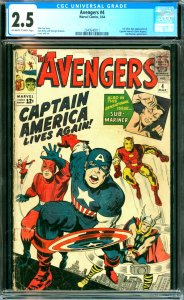 The Avengers #4 CGC Graded 2.5 1st Silver Age appearance of Captain America (...