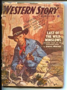 Western Story 2/953- Popular-pulp stories-Charles Dye cover-Pulp thrills-Stev...