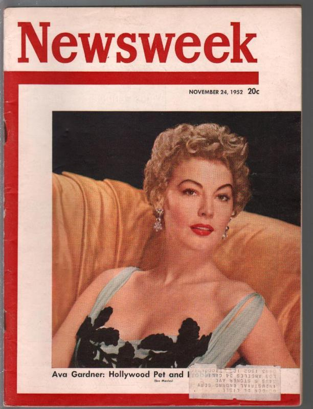 Newsweek 11/24/1952-Ava Gardner photo feayure-info ads-'53 Plymouth-FN
