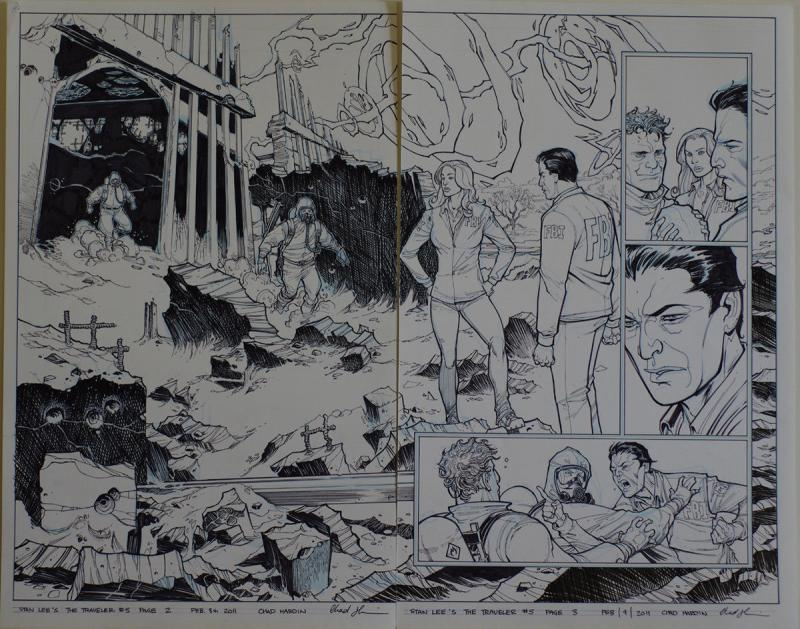 CHAD HARDIN original art, Stan Lee's TRAVELER #5 pgs 2-3, 21x 17, Lg Splash, FBI