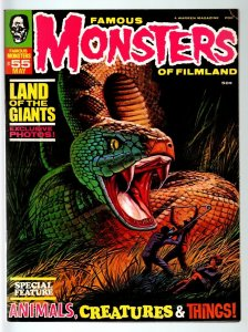 FAMOUS MONSTERS OF FILMLAND#55-SNAKE COVER-QUASIMODO-VAMPIRES-1969-4E ACK VG