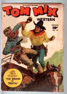 TOM MIX COMICS #14-1949-B WESTERN MOVIE-NORMAN SAUNDERS COVER-FAWCETT-RARE VG-