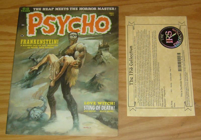 Psycho Magazine #3 VF- boris vallejo frankenstein 1971 - with IRS collection COA