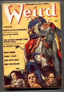 Weird Tales Pulp February 1939- Virgil Finlay-Death is an Elephant FN-
