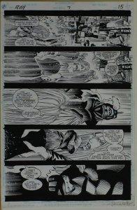 HOWARD PORTER / ROBERT JONES original art, RAY #7 pg 15, 11x 17, 1994, Signed