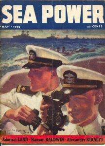 Sea Power 5/1942-McClelland Barclay cover art-war pix &info-Nazi rocket subs-VG