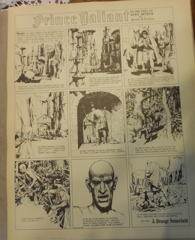 Prince Valiant by Hal Foster Syndicate Proof 6/9/1940  Size 16 x 20 inches