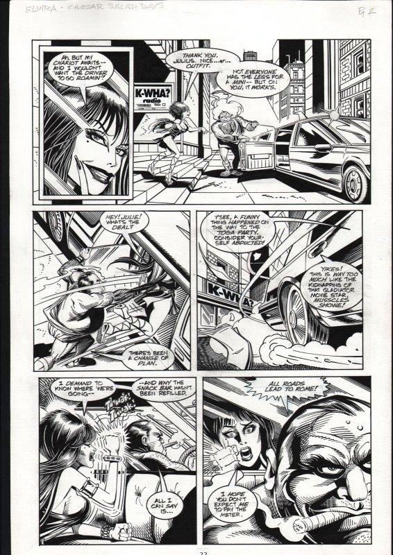 ELVIRA #117-ORIGINAL ART-TOD SMITH-PG6-SPEEDING CAR ART FN