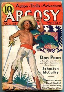 Argosy Pulp August 22 1936- Zorro- Don Peon- Cornell Woolrich VG