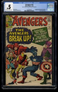 Avengers #10 CGC P 0.5 Off White to White Marvel Comics Thor Captain America