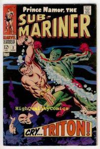 SUB-MARINER #2,  VF, Triton app, Buscema, 1968, Inhumans, John Buscema
