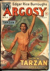 ARGOSY  -   MARCH 19  1938 - RED STAR OF TARZAN - EDGAR RICE BURROUGHS - RUDO...