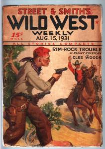 WILD WEST WEEKLY-8/15/1931-PULP-RANNY KID G/VG