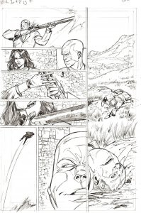 G.I. Joe #8 p 12 DESTRO BARONESS SHOOTING Pencil Art Steve Kurth