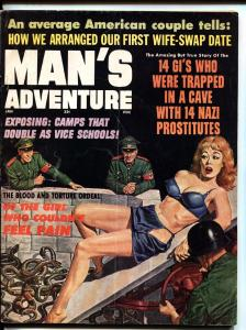 Man's Adventures 1/1966 -Nazis snake torture on babe-wild cover!