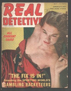 Real Detective 5/1949-Gun Moll cover-Gambling Racketeers-Crime-mystery-terror...