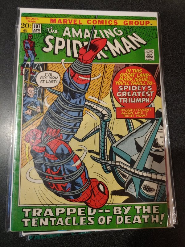 Amazing Spider-Man #107 marvel 1972 bronze age high grade vf+