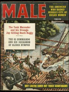 MALE MAGAZINE APRIL 1961-CASTRO-CHEESECAKE-KUNSTLER-WW2 FN