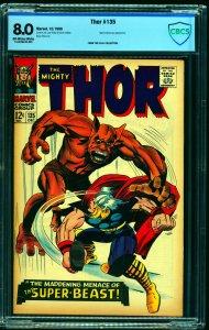 Thor #135 CBCS VF 8.0 Off White to White Marvel Comics