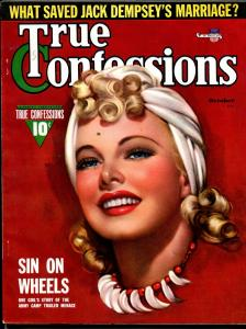 True Confessions 10/1941-Fawcett-Zoe Mozert pretty girl cover-Dempsey-pulp-VF