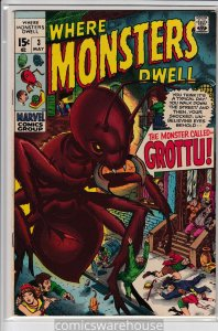 WHERE MONSTERS DWELL (1970 MARVEL) #3 FN- A05695