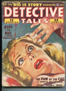 DETECTIVE TALES 11/1950-POPULAR PUBS-WEIRD MENACE-CRIME-PULP-HARD BOILED-vg
