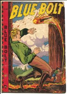 Blue Bolt Vol.10 #2 1949-Novelty-Milt Hammer-Art helfant-arson cover-G