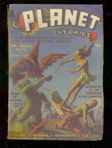 PLANET STORIES #9-W 1941-HANNES BOK PULP ART-MOSKOWITZ  G