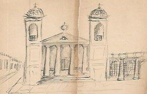 DIBUJO 3663: Dibujo boceto en lapiz. Iglesia