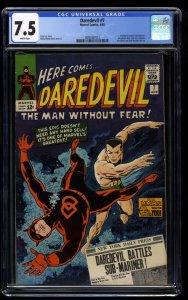 Daredevil #7 CGC VF- 7.5 White Pages New Costume!