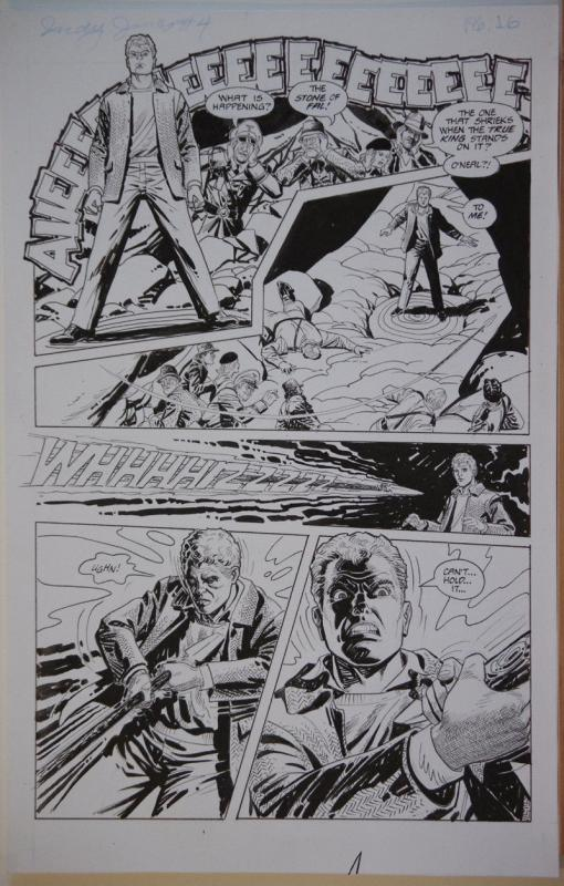 DAN SPIEGLE original art, Indiana Jones Spear of Destiny #4 pg 16, Indy Running