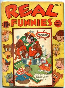 Real Funnies #1 1942-Nedor Funny Animal comic- Golden Age Black Terrier