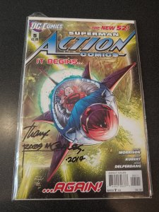 ACTION COMICS #5 SIGNED BY RAGS MORALES WITH COA