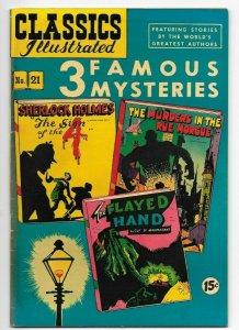 Classics Illustrated #21 VF- 3 Famous Mysteries Sherlock Holmes HRN 85