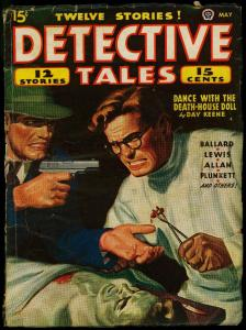 Detective Tales Pulp May 1945- wild surgery cover- Day Keene- Ballard VG